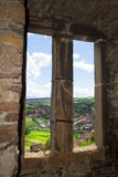 Transylvanian村庄-从地方高耸的看法 库存照片