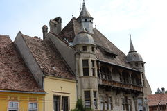 Transylvanian buildings. Sighisoara city view, Transylvania, Romania Stock Photo