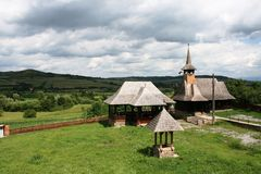 Transylvanian church with landscape Stock Photo