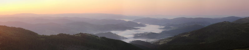 Transylvanian mountain panorama at sunrise Royalty Free Stock Photography