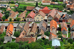 Transylvanian traditional village. A view from Rasnov castle Stock Photography