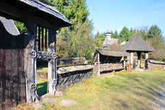 Transylvanian village and wooden gate Stock Photos