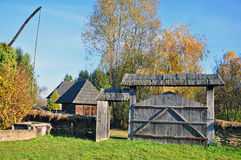Transylvanian village with wooden gate Stock Photos
