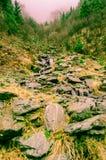 Transylvanias dimmiga berg Arkivfoto