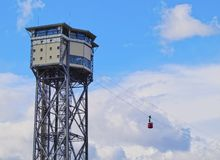 Tranvía aéreo portuario de Vell en Barcelona Fotos de archivo