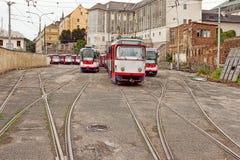Tranvía clásica en un depósito de la tranvía Foto de archivo libre de regalías