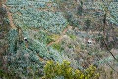Tranvía de Airial de la puerta del infierno Dos teleféricos se representan en un fondo verde de la cuesta de montaña Copie el esp fotografía de archivo libre de regalías