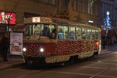 Tranvía de la Navidad en los mercados de la Navidad en Liberty Square Fotos de archivo
