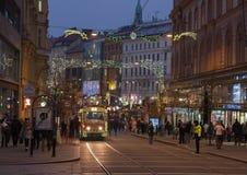 Tranvía de la Navidad en los mercados de la Navidad en Liberty Square Fotografía de archivo