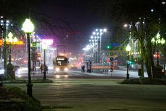 Tranvía de la noche Fotos de archivo libres de regalías