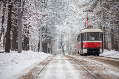 Tranvía de Rusia en parque Imagen de archivo libre de regalías