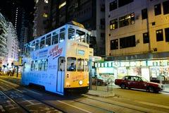 Tranvía del autobús de dos pisos en la calle de HK Foto de archivo