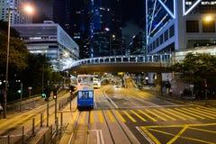 Tranvía del autobús de dos pisos en la calle de HK Imágenes de archivo libres de regalías
