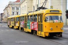 Tranvía eléctrica en Rumania Imagen de archivo libre de regalías