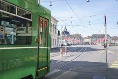 Tranvía en Basilea, Suiza Imagen de archivo libre de regalías