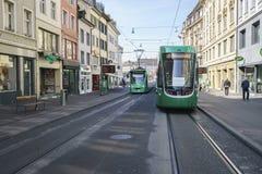 Tranvía en Basilea, Suiza Fotografía de archivo libre de regalías