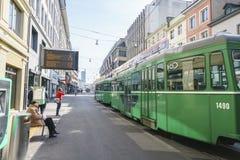 Tranvía en Basilea, Suiza Imágenes de archivo libres de regalías
