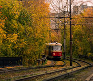 Tranvía en el fondo de los árboles del otoño Fotos de archivo libres de regalías