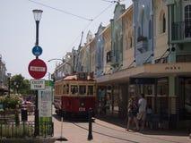 Tranvía en nuevo Regent Street, Christchurch Imagen de archivo