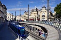 Tranvía en Place de la Comedie en Montpellier Imagen de archivo