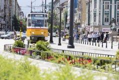 Tranvía en Sofía, Bulgaria Fotografía de archivo