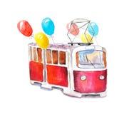 Tranvía festiva roja de la acuarela con los globos del helio en un fondo blanco ilustración del vector