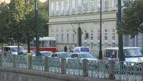 Tranvía roja Praga céntrica, Praga almacen de video