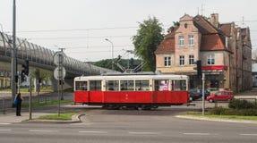 Tranvía rojo viejo Foto de archivo