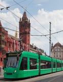 Tranvía verde en Basilea Foto de archivo libre de regalías