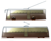 Tranvía y trolebús de la carrocería Imagen de archivo libre de regalías