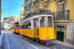 Tranvías del amarillo de Lisboa Foto de archivo libre de regalías
