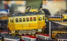 Tranvías del recuerdo del juguete en Lisboa, Portugal Imagen de archivo libre de regalías