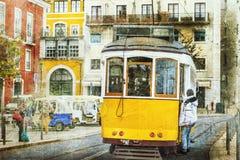 Tranvías del vintage en Lisboa, Portugal Fotos de archivo libres de regalías