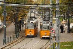 Tranvías en Budapest Imagen de archivo libre de regalías