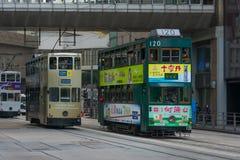 Tranvías en Hong Kong, China Imagenes de archivo