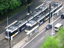 Tranvías en la ciudad del señor, Bélgica Imagenes de archivo