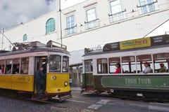 Tranvías históricas en Lisboa Imágenes de archivo libres de regalías