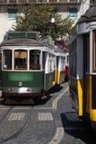 Tranvías que cruzan en una calle Foto de archivo
