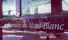 Tranvía du Mont Blanc Inscription Foto de archivo