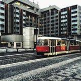 Tranvía en Praga Imagenes de archivo