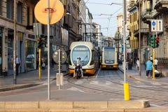Tranvai a Milano Fotografie Stock Libere da Diritti