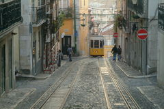 Tranway in lisbon. One yellow elevador da bica in lisboa royalty free stock photos