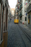 Tranway in lisbon. A yellow elevador da bica Royalty Free Stock Images