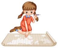 Traço da menina no mapa Fotografia de Stock