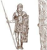 Tração romana da mão do guerreiro Imagem de Stock Royalty Free