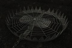 Trap. 3d render of trap with spider web Royalty Free Stock Photo