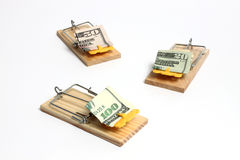 Trap. Wooden mouse trap with dollars Royalty Free Stock Photography