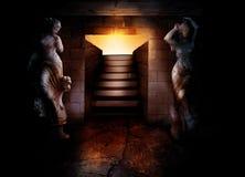 Trap aan ondergrondse ruimte royalty-vrije illustratie