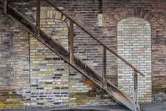 Trap, Bakstenen muur, Architectuur, Treindepot - Janesville, WI royalty-vrije stock afbeelding