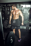 Trap bar deadlift. Professional bodybuilder doing trap bar deadlift exercise in modern fitness center. Toned image Stock Images